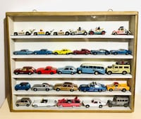 Vintage Corgi Die Cast Cars W/ Vintage Wooden with Glass Cover