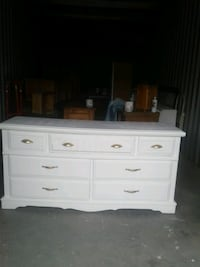 White 7 drawer dresser solid wood l 63  xd 18  x h 32 newly painted