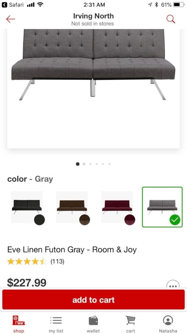 Gray Futon Sofa Bed