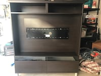 Black and gray wooden TV hutch Walnut, 91789