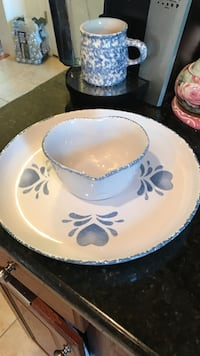 White and blue ceramic plate and bowl Gainesville, 20155