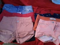 three blue, white, and red short shorts Sulphur, 70663