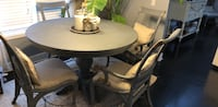 Round gray farmhouse table with four chairs dining set Columbia, 29229
