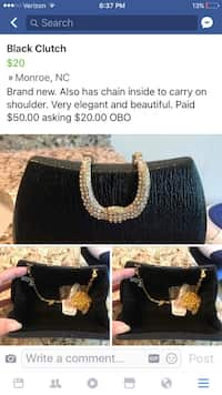 caa680b36b1b31 Women's black clutch. Also comes with chain to carry on shoulder