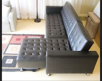 Tufted black leather sectional sofa Mississauga, L5R 3J6