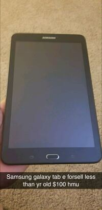 black Samsung Galaxy tablet with text overlay