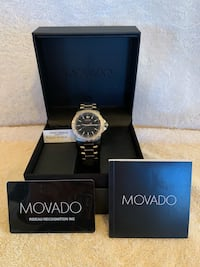 Movado Chronograph Men's silver watch with black dial Broadlands, 20148