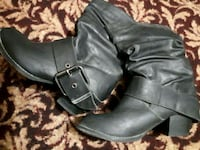 pair of black leather chunky heeled booties Toronto, M6H 3E8