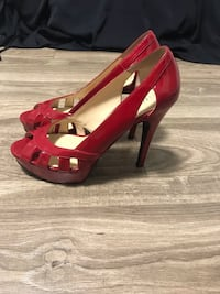 Guess red peep toe shoes Vaughan