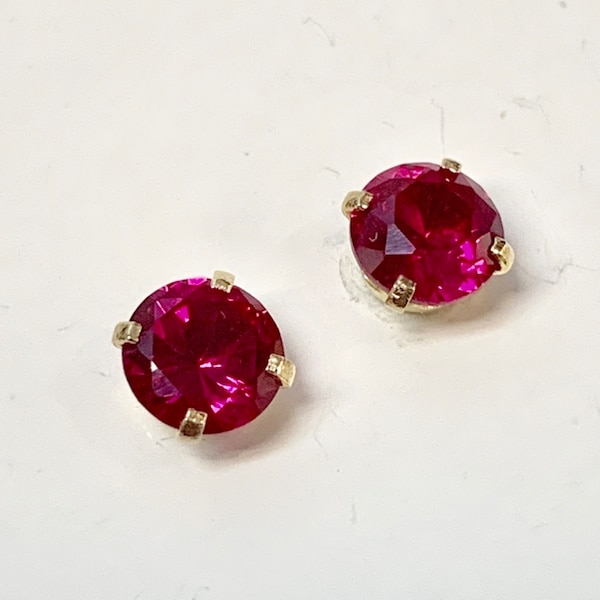 Genuine 14k Yellow Gold Ruby Stud Earrings cbc828fc-9a4b-42bc-a670-15f82abda97c