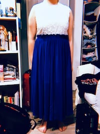 Blue and White Long Dress 兰利