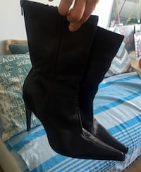 black leather heeled mid-calf boots Montréal, H1S 1T7