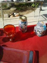 two clear glass fish bowls and a red glass skull c San Diego, 92117