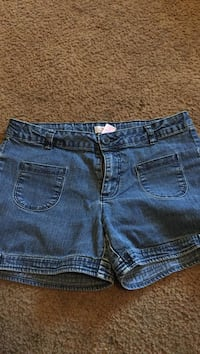 two blue denim short shorts