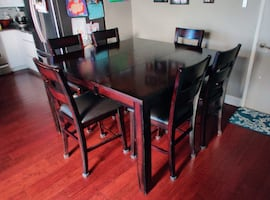 Counter High Solid Wood Extending Kitchen Dining Table