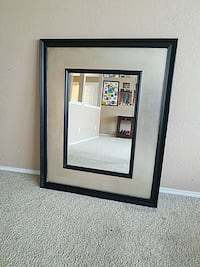 rectangular black wooden framed leaning mirror Converse, 78109