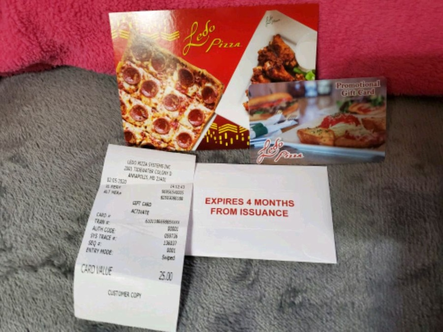 Photo $25 Ledo pizza Gift Card