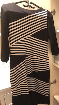 black and white striped long-sleeved dress Canmore, T1W 3L3