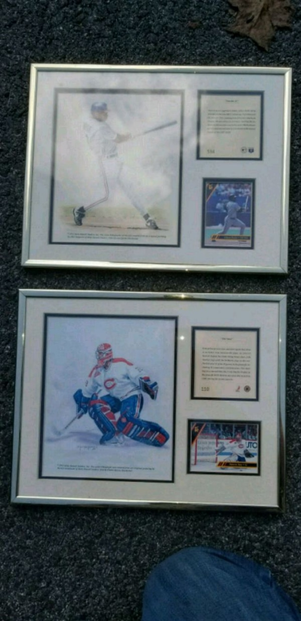 Vintage baseball and hockey framed set