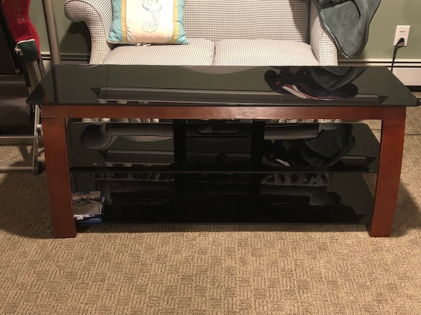 Used Black Glass And Wood Tv Stand For Sale In Oceanside Letgo