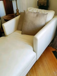 white leather sofa chair with throw pillow Surrey, V4P 1A8