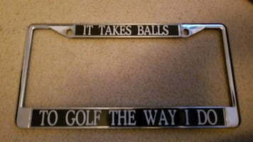 Golf license plate custom ..  silver black car