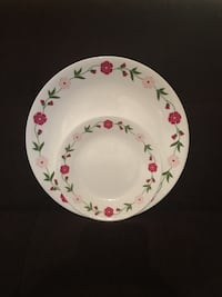 4 Corelle Dinner Plates & 4 Matching Smaller Plates—Red/Pink Floral Border Vienna, 22180