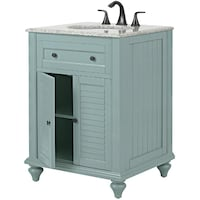 Home Decorators Collection Hamilton Shutter 25 in. W x 22 in. D Bath Vanity in Sea Glass with Granite Vanity Top in Grey Richardson
