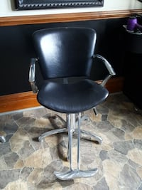 black leather hydraulic chair with stainless steel frame