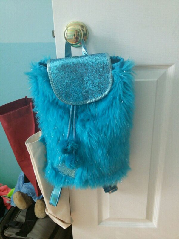 Blue fuzzy bag
