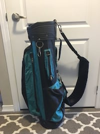 black and blue golf club bag