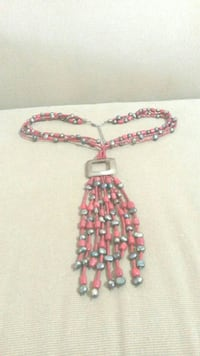 Sterling Red & Black Coral Necklace & Earrings