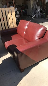 red leather loveseat sofa 2670 km