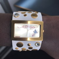 Square gold-colored ed hardy analog watch Newark, 19717
