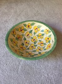 Hand painted and signed decorator  wooded bowl