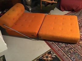 Lounge chair 1960's orange fabric