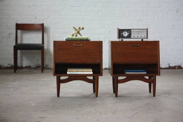 19c13ba9f0f7 Dania Mid Century Walnut Night Stands Side Tables by American of  Martinsville