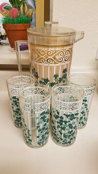 clear printed drinking glass and pitchers 618 mi