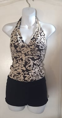 Brown Floral Halter Top: Size Xs/S
