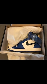 Blue-and-white nike basketball shoes with box