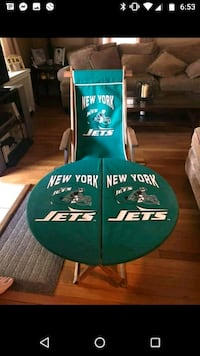 New York Jets Tailgate chair and table wood strong