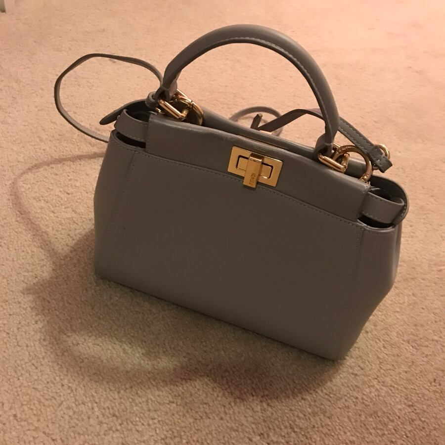 Gray leather two way bag