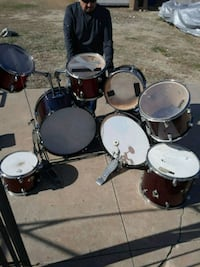 Double bass system drum set.., great condition 6 Tom's two double bass