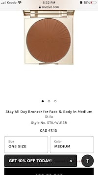 STILA CONTOURING BRONZER **STAY ALL DAY - MEDIUM Markham, L3R 4M9