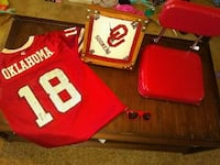 red and white Oklahoma 18 jersey shirt