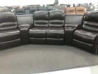 black leather home theater couch