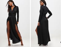 black long sleeve satin dress by PRETTY LITTLE THING Toronto