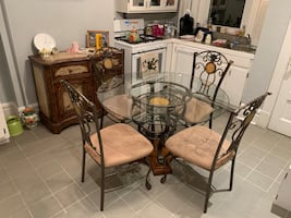 Vintage glass dining table and chairs