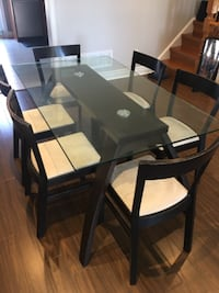 rectangular glass top table with six chairs dining set Markham