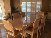 Rectangular brown wooden table with six chairs dining set Palm Harbor, 34683